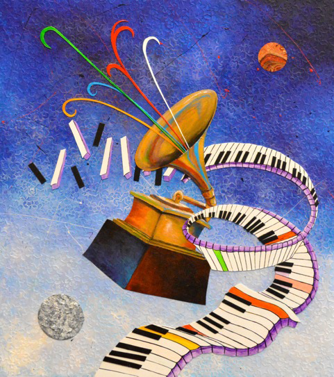 "Marcus Glenn's ""One Nite Outta This World"" was the official artwork for the 56th Annual Grammy Awards."