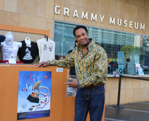 Marcus Glenn with a poster version of his Grammy artwork.